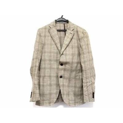 カンタレリ Cantarelli ジャケット サイズ44 L メンズ - ベージュ×アイボリー×グリーン 長袖/チェック柄/春/秋【中古】20200823
