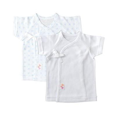 赤ちゃんの城 低出生体重児 短肌着 2枚セット 45cm 麻の葉 サックス フライス 春 夏 秋 冬 綿100% 日本製