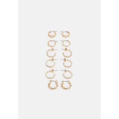 ピーシーズ ピアス&イヤリング レディース アクセサリー PCRIKKY EARRINGS 6 PACK - Earrings - gold-coloured