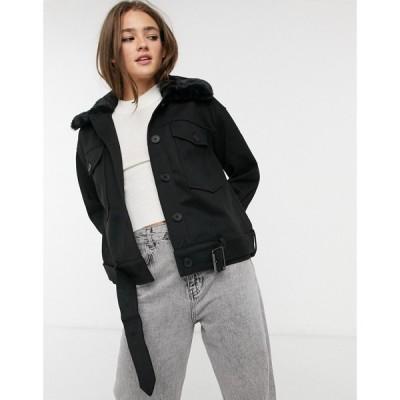 ピーシーズ Pieces レディース ジャケット アウター boxy jacket with faux fur collar in black ブラック
