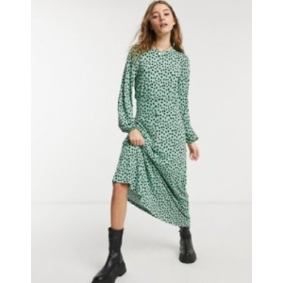 エイソス レディース ワンピース トップス ASOS DESIGN maxi dress with long sleeve in sage spot print Green animal
