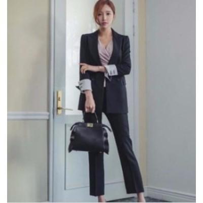 お呼ばれ パンツスーツ スーツジャケット セレモニー スーツ  フォーマル 大きいサイズ セットアップ 上下セット 2点セット オフィス 体