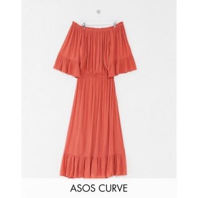 エイソス レディース ワンピース トップス ASOS DESIGN Curve off shoulder maxi dress in texture dobby in rust