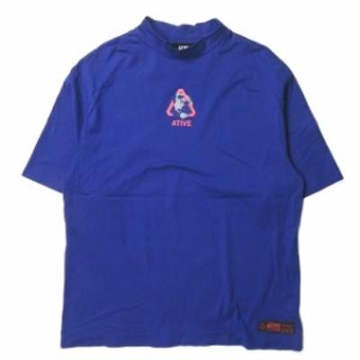 ATIVE エイティブ EARTH LOGO SS TEE アースロゴショートスリーブTシャツ フリー ブルー 半袖 ハイネック トップス