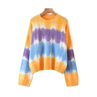 Flygo Women's Long Sleeve Crew Neck Tie Dye Color Block Casual Loose Knitte
