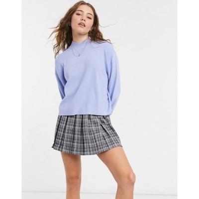 ベルシュカ レディース ニット・セーター アウター Bershka fine gauge volume sleeve sweater in light blue