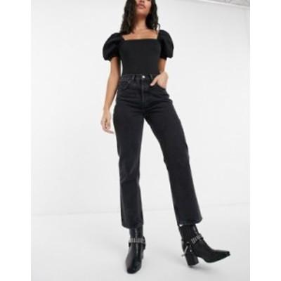 トップショップ レディース デニムパンツ ボトムス Topshop Editor straight leg jeans in black Worn black