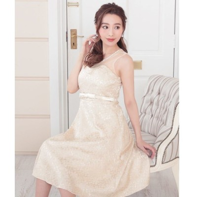 ドレス 襟パールビジューノースリーブフレアパーティードレスワンピース