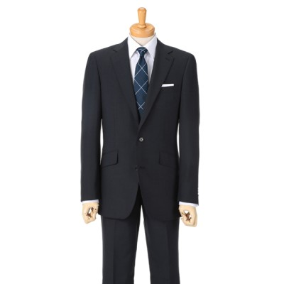 [紳士スーツスペシャル]ドールオム 遠めには無地に見える細かいハウンドトゥース柄。ストレッチ素材で軽快に 1651201-B ネイビー HM1