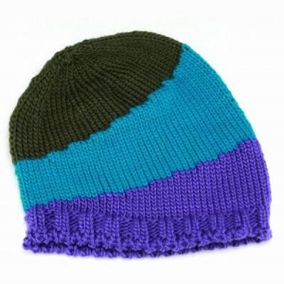 ニット帽 トリコロールカラー ビーニー ポップなデザイン ホールガーメント ウール スポーティー ターコイズブルー系 秋冬