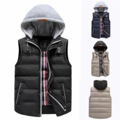 メンズ ダウンベスト 中綿 大きいサイズ パーカー カジュアル 防寒 軽量 防寒 暖かい 袖 なし