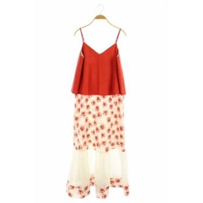 【中古】クロスエム ミカニナガワ フラワーレイヤーマキシワンピース キャミワンピ ロング 花柄 F 赤 白 レディース