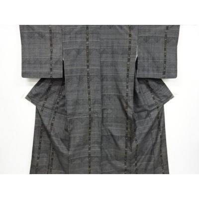 リサイクル 幾何学模様織り出し十日町紬着物