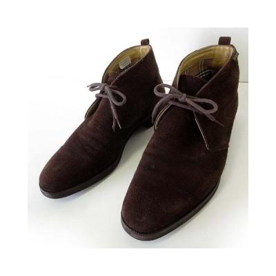 【中古】バーバリー BURBERRY ブーツ チャッカブーツ 本革 スエード レザー 25.5cm ダークブラウン こげ茶色 くつ 靴 シューズ 国内正規品 メンズ