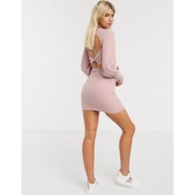 エイソス レディース ワンピース トップス ASOS DESIGN rib sweat dress with twist back in pink Pink