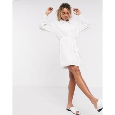 ネイティブユース ミニドレス レディース Native Youth belted shirt dress in broderie エイソス ASOS ホワイト 白