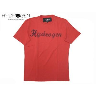 HYDROGEN ハイドロゲン Tシャツ Z00079 RED ネイビー系 筆記体ロゴ入り メンズ 半袖 レッド系 Tシャツ L