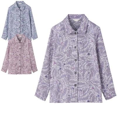 ナイアガラ楊柳 ななめボタンホール ブラウス シャツ シニアファッション レディース 60代 70代 80代 90代 おしゃれ 春夏 高齢者 服