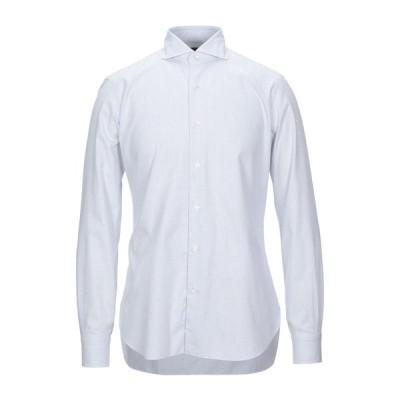 BARBA Napoli 柄入りシャツ ファッション  メンズファッション  トップス  シャツ、カジュアルシャツ  長袖 ホワイト