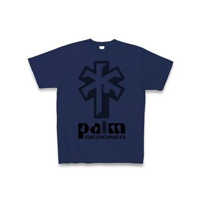 ヤシの木のデザイン(黒) Tシャツ(ジャパンブルー)