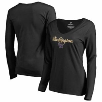 Fanatics Branded ファナティクス ブランド スポーツ用品  Fanatics Branded Washington Huskies Womens Black Freehand Long Sleeve T-S