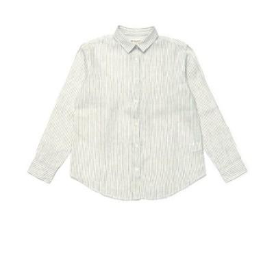 レディース ウィメンズシャツ カジュアル 長袖 レギュラー衿 麻100% 白×グリーンストライプ