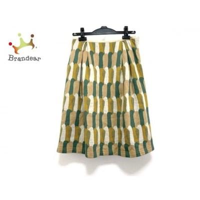 サリースコット Sally Scott スカート サイズM レディース 美品 ベージュ×グリーン×マルチ 新着 20200521
