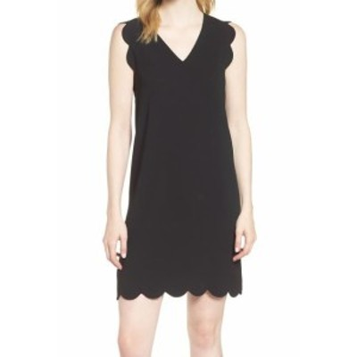 CeCe  ファッション ドレス CECE Womens Deep Black Size 12 Scallop Trim V-Neck Sheath Dress