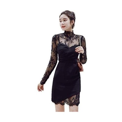 パーティードレス ワンピース 結婚式ドレス お呼ばれワンピース 20代 30代 40代 袖あり ショート 黒 レース 花柄 (ブラック M)