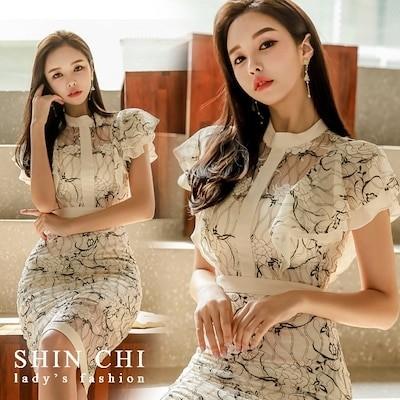 国内ストア 送料無料 韓国ファッション レース 花柄 ワンピース ドレス フリル 膝丈 きれいめ