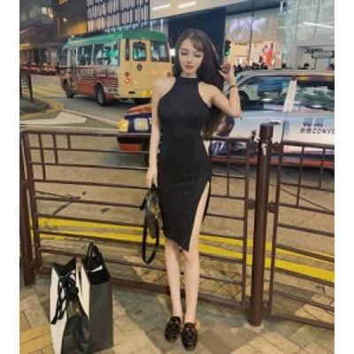美ラインワンピースドレス 2色 ブラック プラム スリム タイト スリット セクシー ノースリーブ ストレッチ 無地 ワンカラー 新作