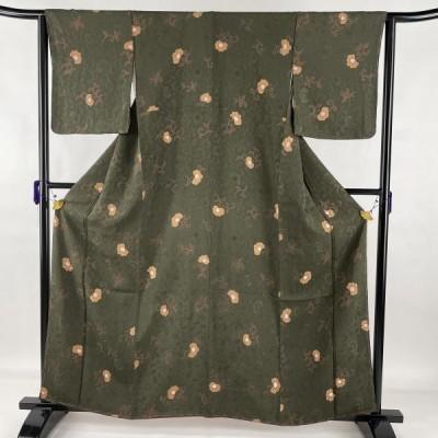 小紋 美品 秀品 花唐草 金彩 茶緑色 袷 身丈162cm 裄丈63.5cm S 正絹 中古