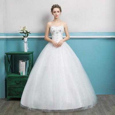 ウエディングドレス 結婚式 披露宴 チューブトップ プリンセス ブライダル ブライズメイド ロング 安い 可愛い 純白【S-XXL】