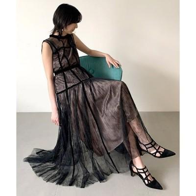 ドレス ベルベットシームチュールドレス