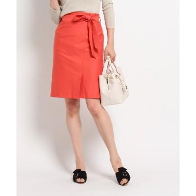 ◆【洗える】ベルテッドラップ風スカート