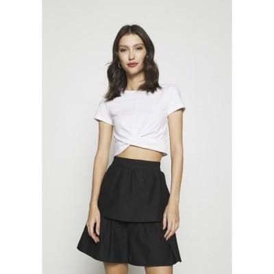 エブンアンドオッド Tシャツ レディース トップス Basic T-shirt - white