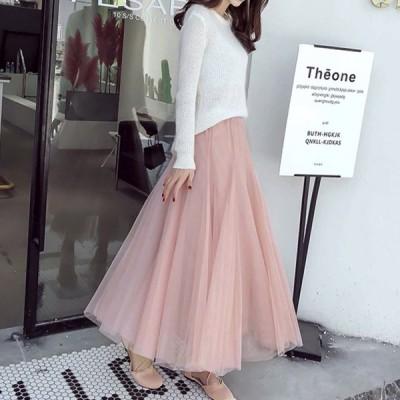 可愛いチュールスカート マキシ丈 フリーサイズ