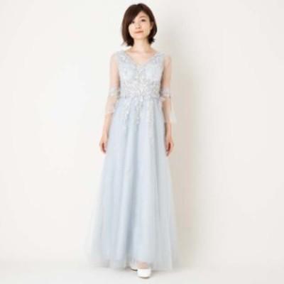ロングドレス イブニングドレス パーティー 発表会 演奏会 結婚式 二次会  お呼ばれ  シフォン オーガンジー グレーMサイズ