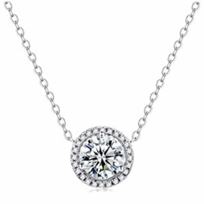 Sterling Silver Pendant Necklace for Women,Cubic Zirconia Solitaire Dainty Halo Necklace Jewelry for Teen Girls,18''