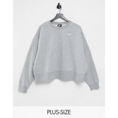 ナイキ レディース シャツ トップス Nike Plus Trend Fleece cropped crew neck sweatshirt in gray Gray heather