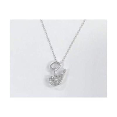 【 揺れるダイヤ】 K18 ダイヤモンド イニシャル ネックレス ペンダント ホワイト/ピンク ゴールド プレゼント 記念日  ホワイトゴールド Y
