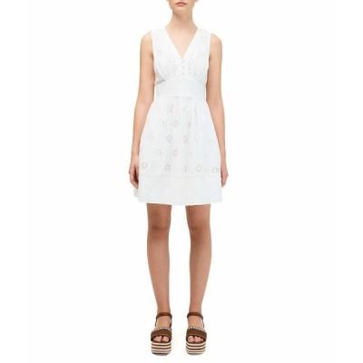 ケイト スペード ワンピース トップス レディース Spade Clover Eyelet Mini Dress Fresh White