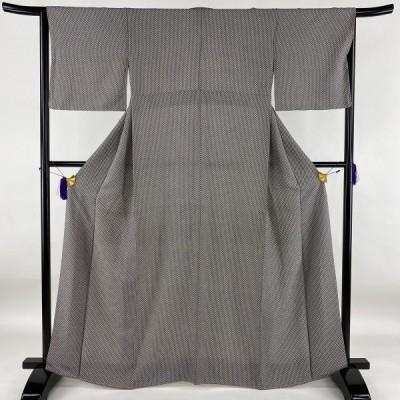 小紋 美品 秀品 捻梅 黒灰 袷 身丈165cm 裄丈64cm M 正絹 中古