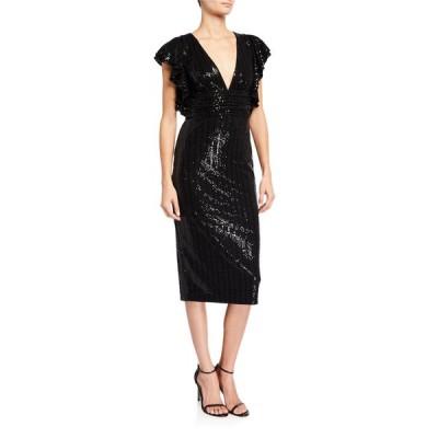 バッドグレイミッシカ レディース ワンピース トップス Sequin V-Neck Flutter-Sleeve Cocktail Dress