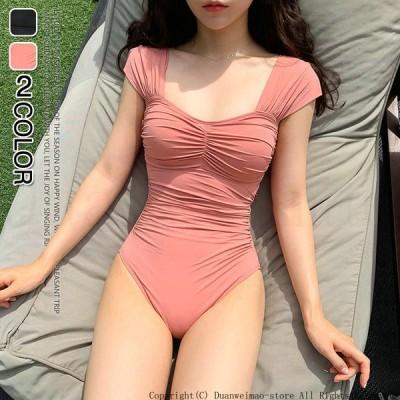 ワンピース水着 セクシー ワンショルダー レディース ビキニ M L XL 20代 30代 安い スイムウェア 海浴女性 おしゃれ ピンク ブラック