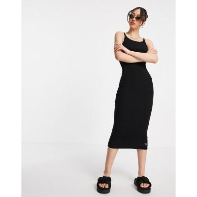 ドクターデニム ミディドレス レディース Dr Denim slim fit rib midi dress in black エイソス ASOS ブラック 黒