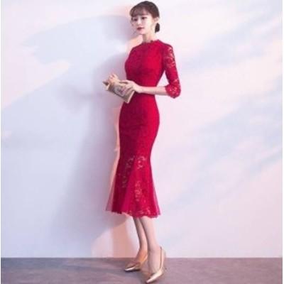 マーメイド ドレス ワンピース 長袖 膝丈 ラウンドネック 総レース 大きいサイズ XL 大きいサイズ お呼ばれ 結婚式 韓国 パーティードレ