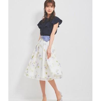 LAISSE PASSE / ベルト付きオパールフラワースカート WOMEN スカート > スカート