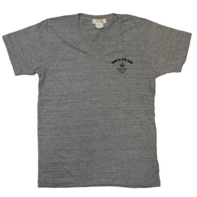 在庫限り VネックTシャツ Mのみ メンズ ワンポイント バック ロゴヘンプ柄