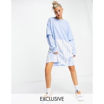 ウィークデイ レディース ワンピース トップス Weekday Tracy long sleeved t-shirt dress in blue tie dye